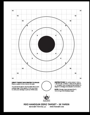 MDFI RDO Handgun Zero Target 25 yds